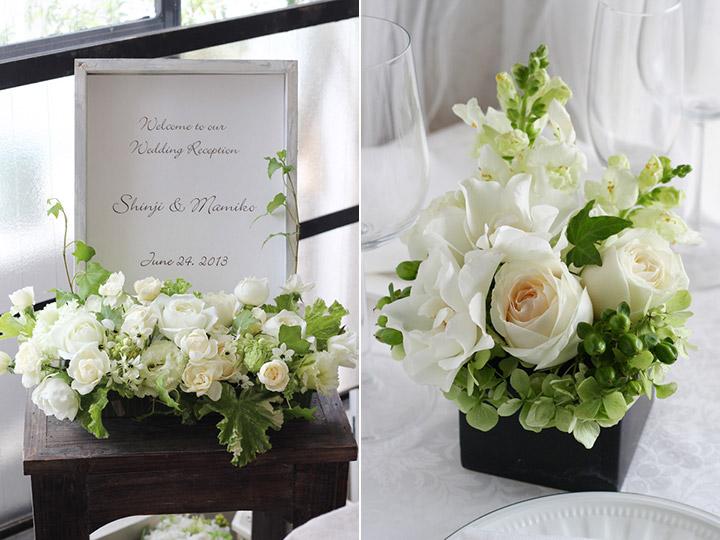 ウェルカムボード ナチュラル 白 バラ 受付装花