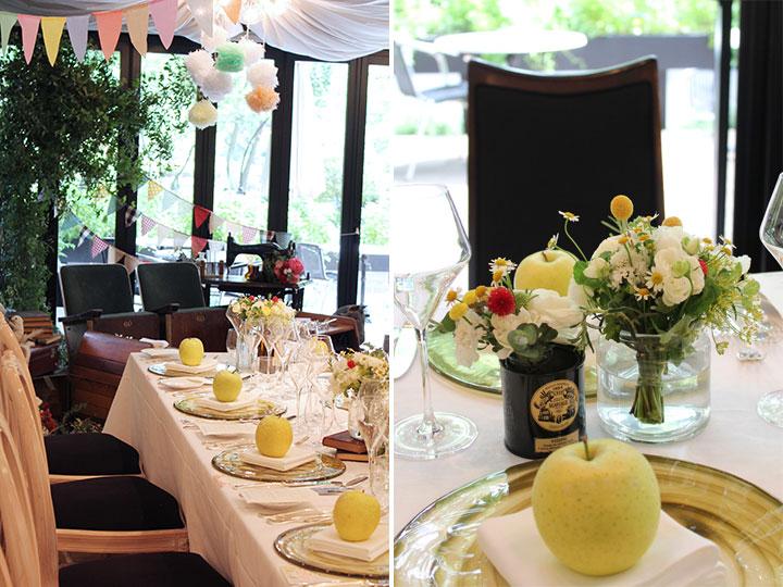 ゲストテーブル,装花,ナチュラル,紅茶缶,りんご