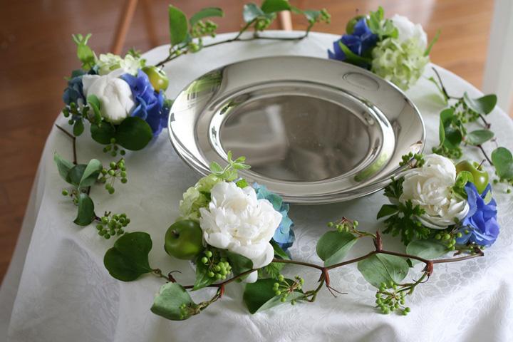 ケーキテーブル,装花,シャクヤク,あじさい,
