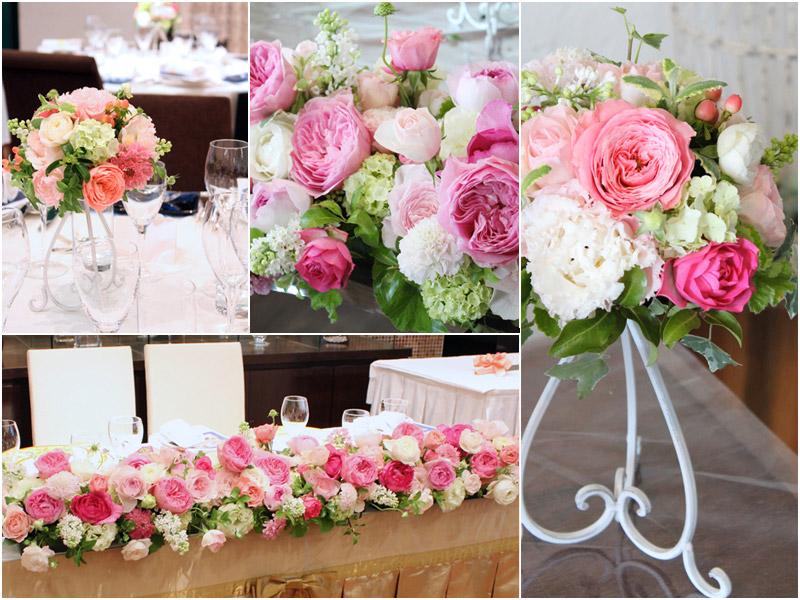 会場装花イメージ:白×ピンク,バラ,レストラン,装花
