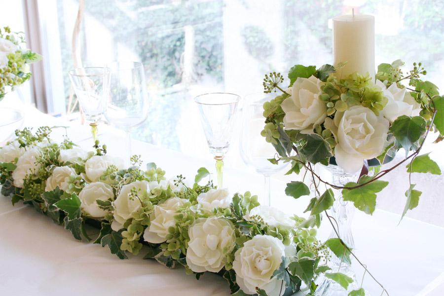 メインテーブル装花 スリム バラ キャンドル