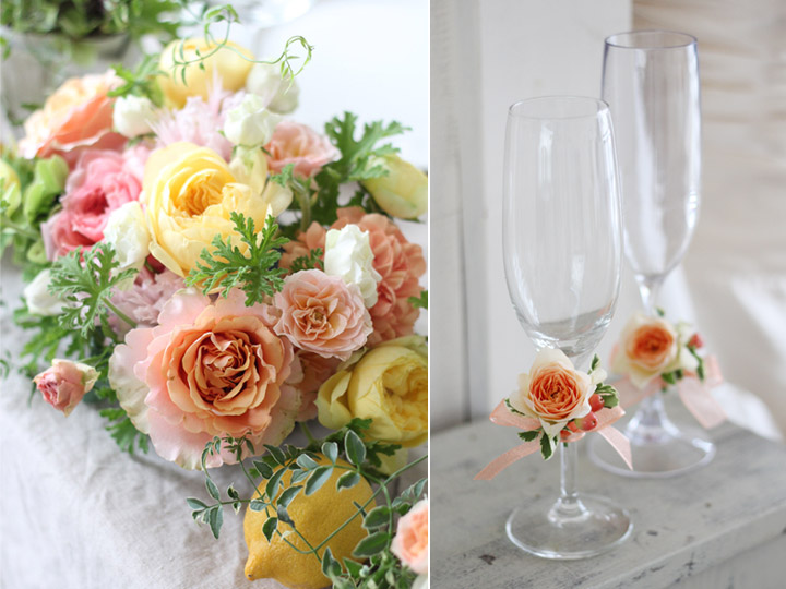 シャンパン,グラスコサージュ,花,リボン