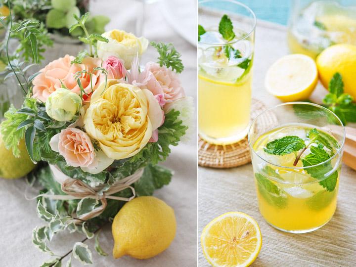 ゲストテーブル,アレンジ,レモン,オレンジ,グリーン