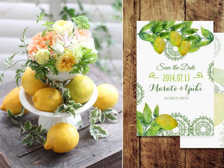 招待状,ペーパー,レモン,柑橘,果物