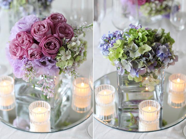 ゲストテーブル 装花 アレンジ バラ キャンドル