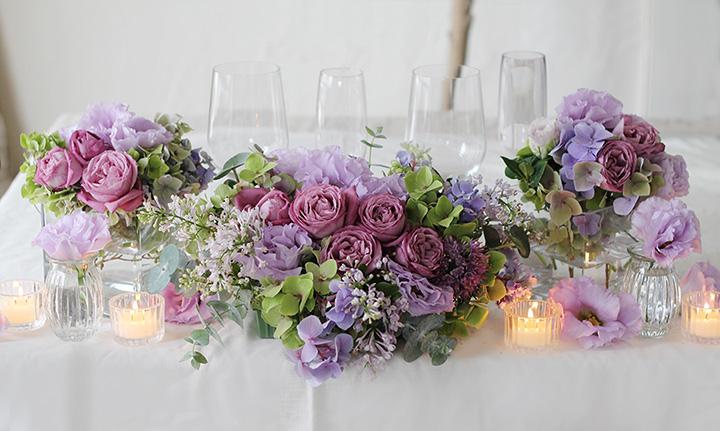 メインテーブル装花 紫 パープル バラ ライラック