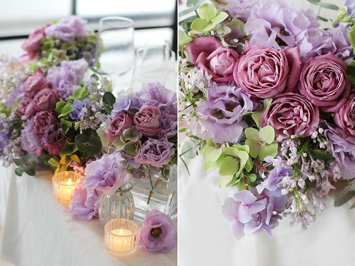 結婚式 フラワーアレンジ キャンドル 紫 パープル