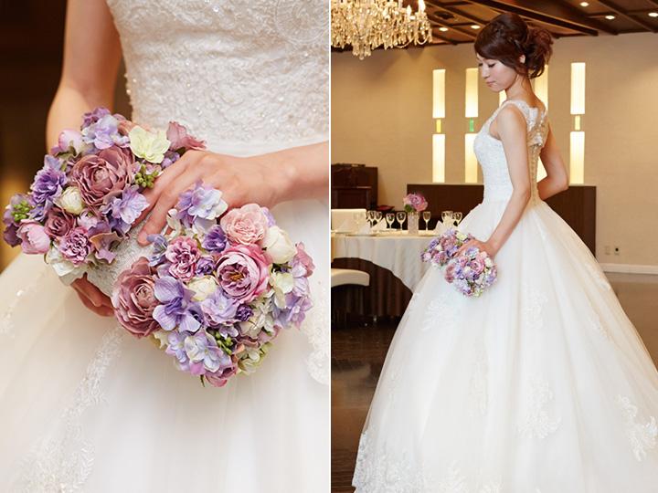クラッチバッグ型 ブーケ 紫 バラ 造花