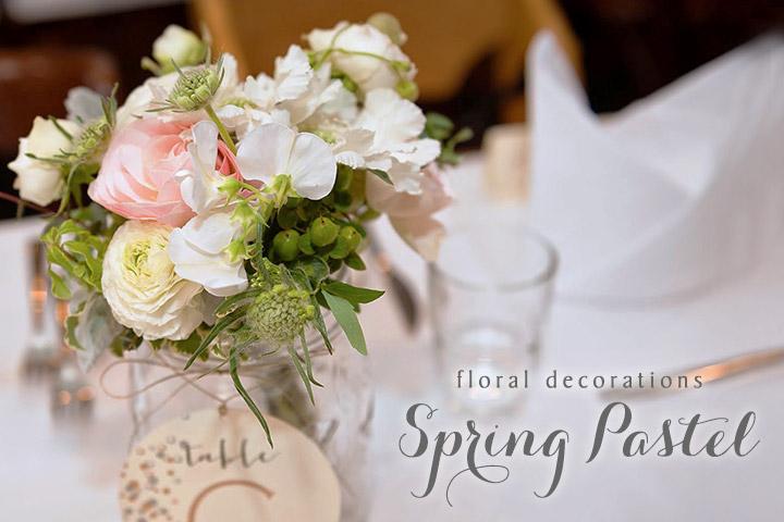 春の会場装花:スプリングパステル ピンク 白