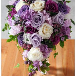 紫,バラ,キャスケードブーケ,ブリザーブド