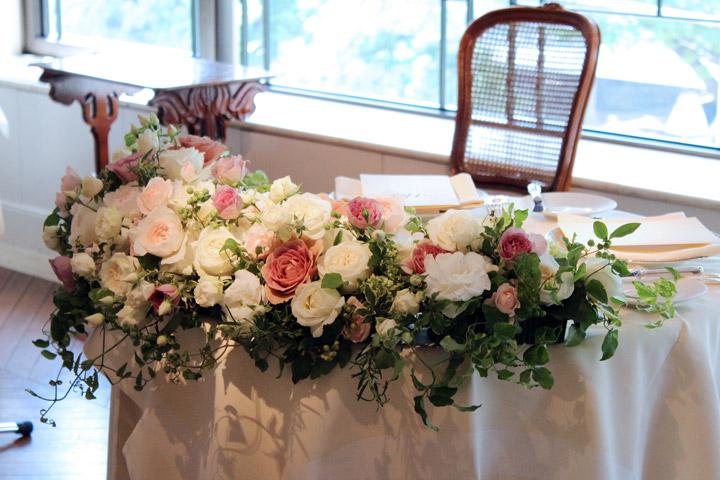 メインテーブル,高砂,アレンジ,アンティーク,バラ