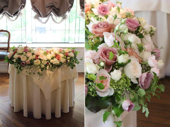 白,クリーム,スモーキーピンク,バラ,装花