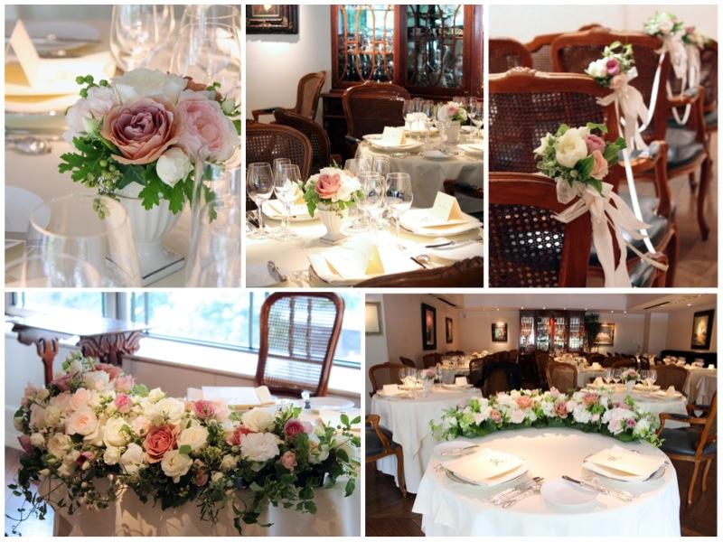 ひらまつ,レストラン,ウェディング,装花,アンティーク,ピンク