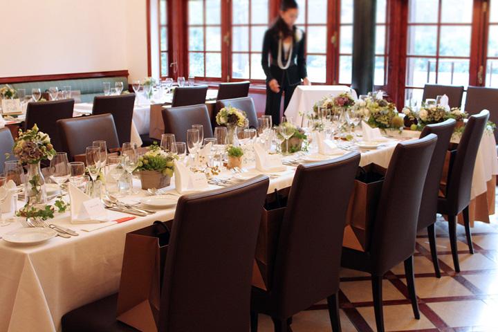 長テーブル,晩餐会,会場装花