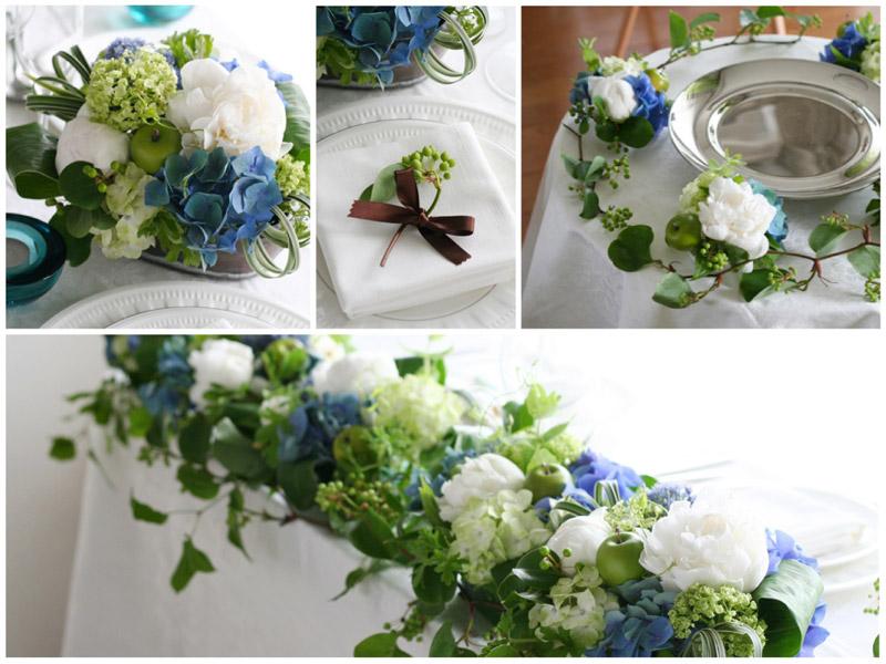 会場装花イメージ:フレッシュブルー,青,白,ホワイト,あじさい,紫陽花,シャクヤク,初夏