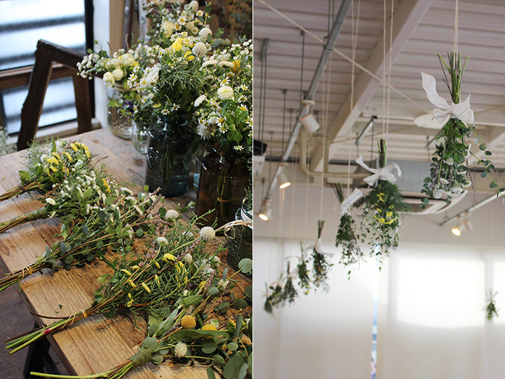 会場装花 天井装花 野の花 花束