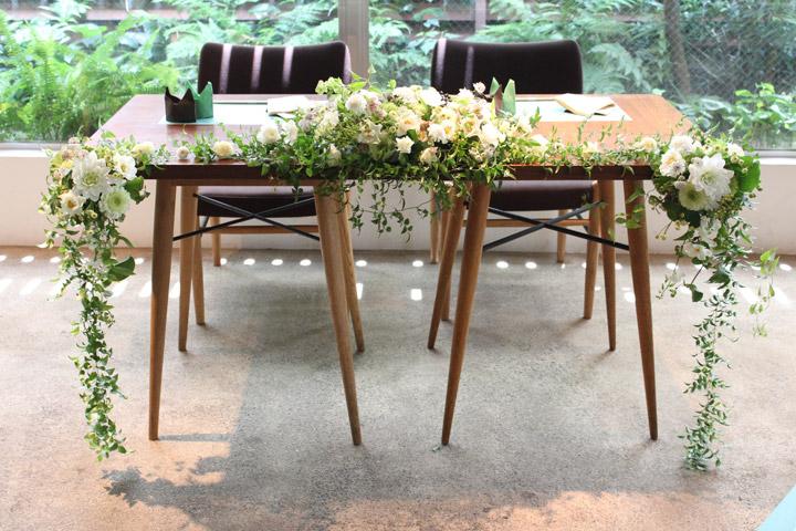 メインテーブル,高砂装花,ナチュラル,グリーン