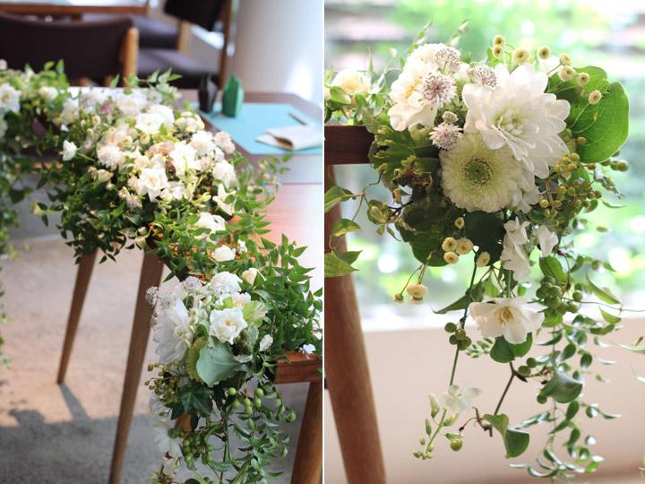 野の花,白,緑,ダリア,ガーベラ