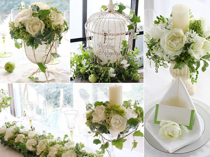 会場装花:イノセントホワイト 白 緑,バラ