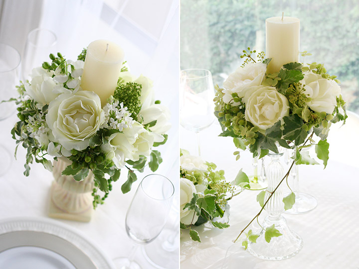 ゲストテーブル 装花 キャンドル 白 緑 バラ