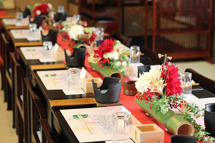 浅草今半別館,会場装花,長テーブル,和装