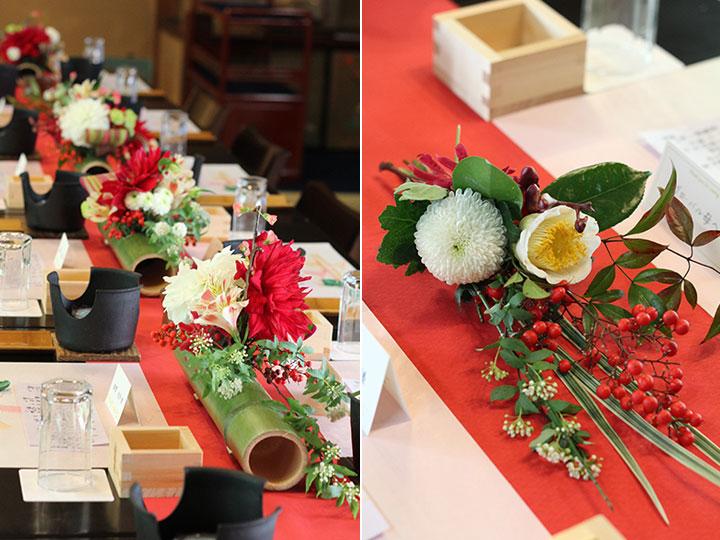 竹,アレンジ,装花,和モダン,ダリア,菊,赤,白