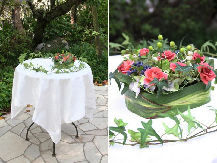 人前式 生花 リングピロー 祭壇装花