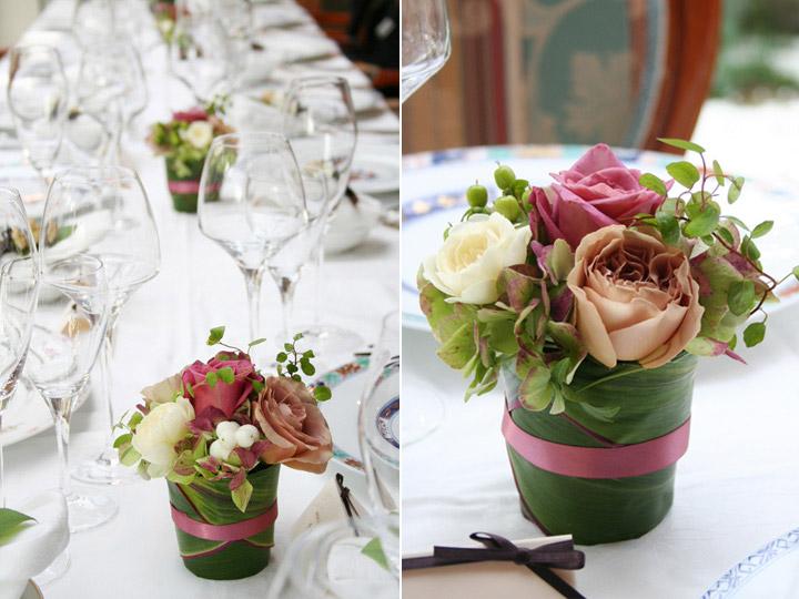 ゲストテーブル 装花 スモーキー ピンク バラ