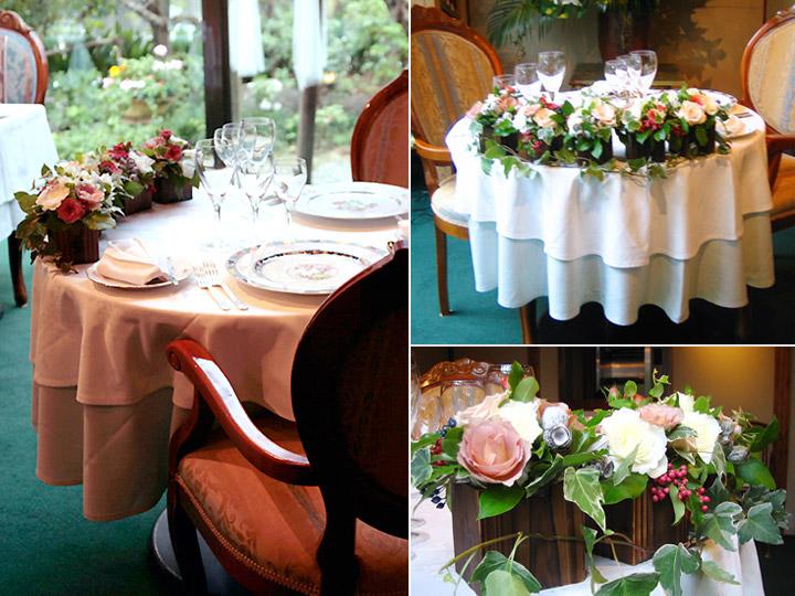メインテーブル 装花 ウッドボックス ピンクバラ