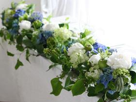 会場装花,ブルー