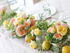 会場装花,レモン,オレンジ,黄色