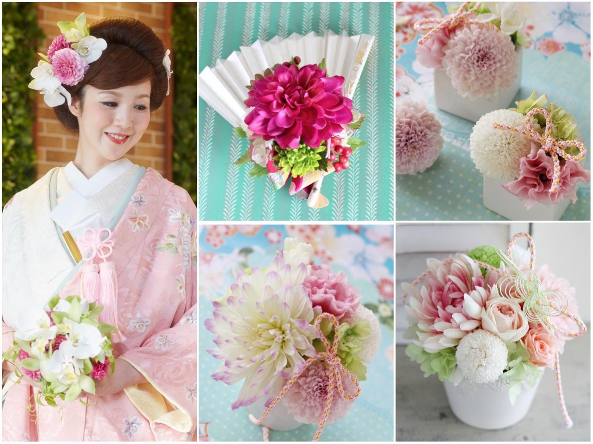 会場装花イメージ:和婚,和装,ピンポンマム,白,ピンク